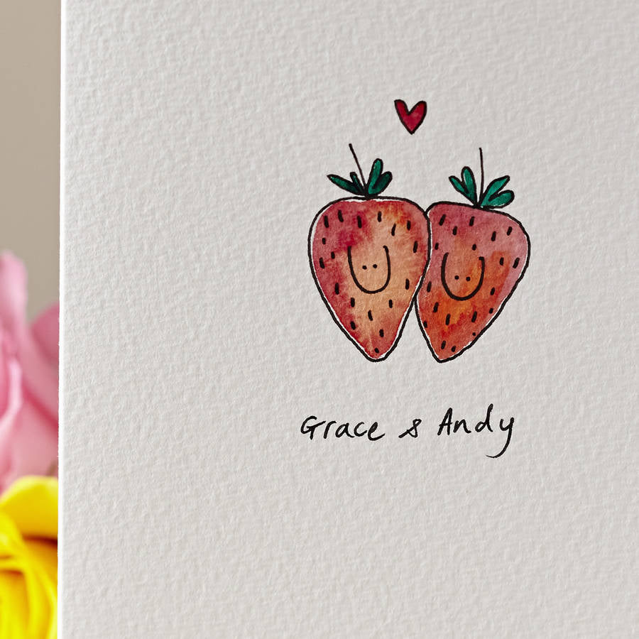Strawberries in Love Personalised Hand Illustrated Card