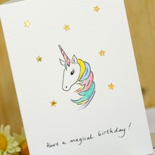 Load image into Gallery viewer, Sparkly Unicorn Personalised Hand Illustrated Card