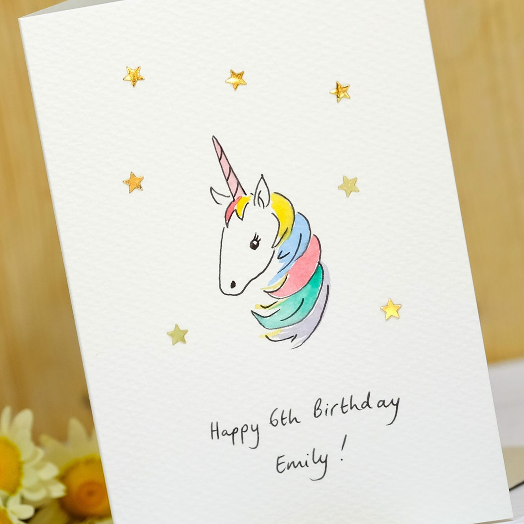 Sparkly Unicorn Personalised Hand Illustrated Card