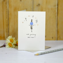 Load image into Gallery viewer, Button Best Man Personalised Hand Illustrated Card
