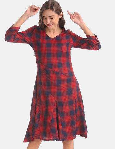 Red And Navy Check A-Line Dress