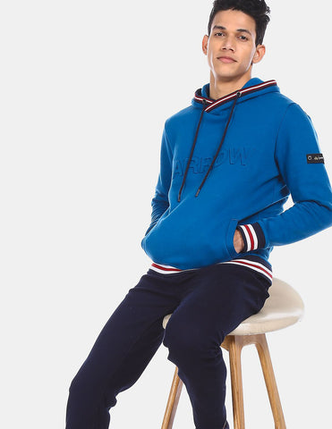 Men Blue Long Sleeve Brand Embossed Hooded Sweatshirt