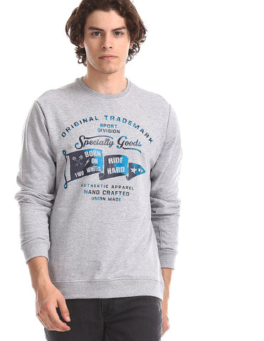 Grey Crew Neck Graphic Sweatshirt