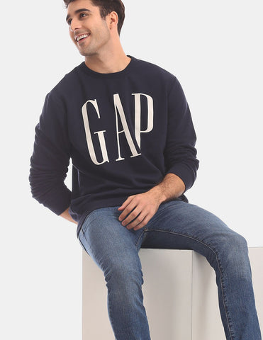 Men Blue Crew Neck Brand Logo Sweatshirt