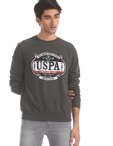 Grey Crew Neck Brand Print Sweatshirt