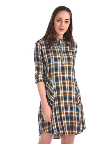 Tie Up Waist Check Shirt Dress