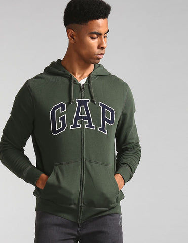 Men Green Hooded Zip Up Sweatshirt