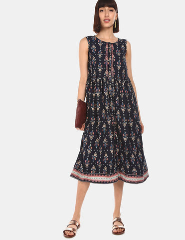 Women Navy Round Neck Sleeveless Printed Dress