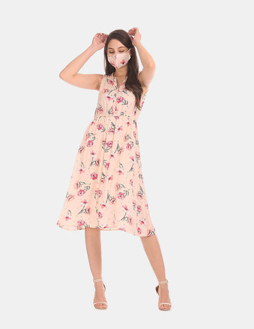 Women Peach Floral Print Fit And Flare Dress With Mask