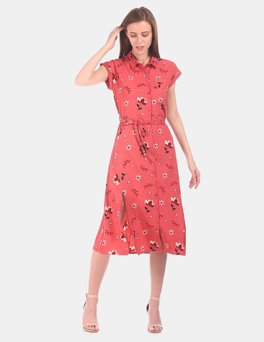 Women Coral Pink Floral Print Shirt Dress