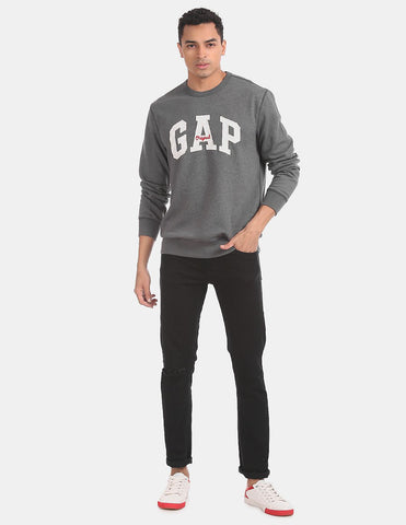Grey Logo Fleece Crew Neck Sweatshirt