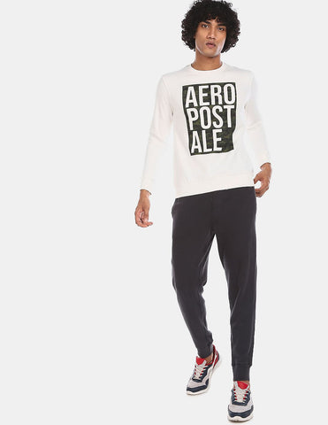 Men White Crew Neck Brand Print Sweatshirt