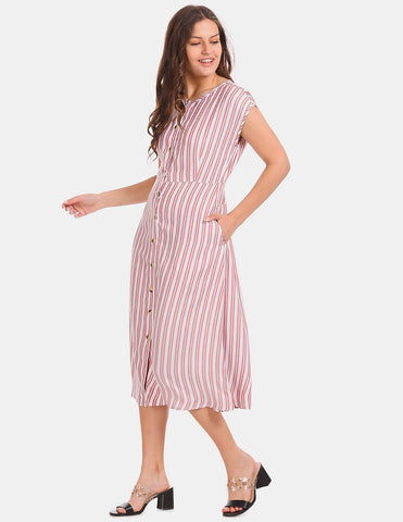 White And Red Striped Midi Dress