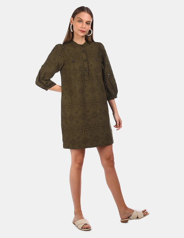 Women Olive Mandarin Collar Eyelet Embroidered Dress
