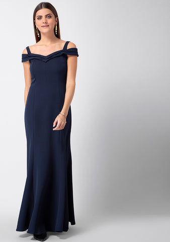 Navy Pleated Strappy Maxi Dress