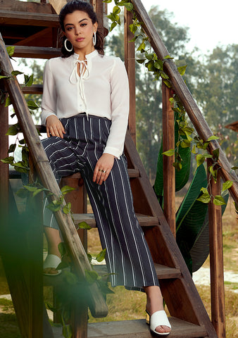 Navy White Striped Wide Legged Pants