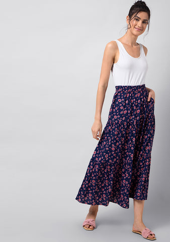 Blue Floral Tiered Maxi Skirt