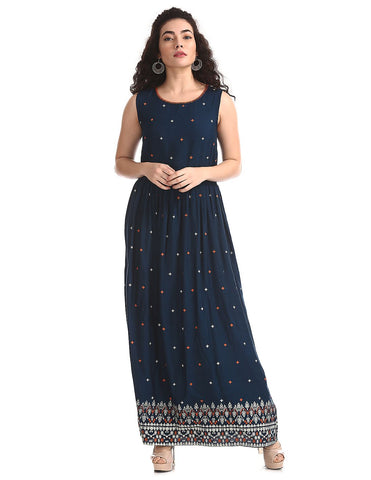 Blue Round Neck Printed Maxi Dress