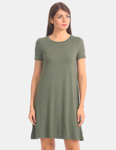 Women Green Stretch Solid T-Shirt Dress