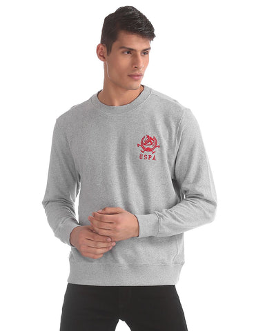 Grey Crew Neck Heathered Sweatshirt