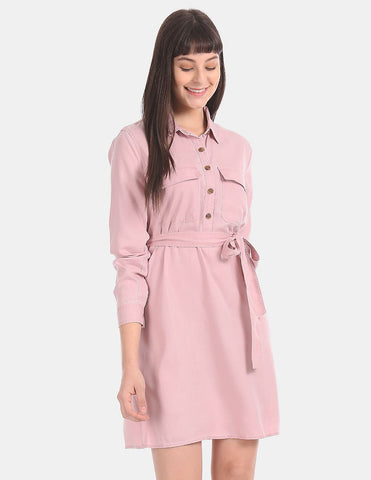 Women Pink Long Sleeve Shirt Dress