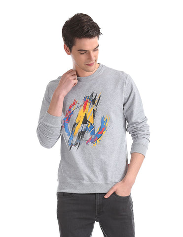 Grey Crew Neck Avengers Logo Graphic Sweatshirt
