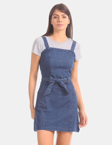 Women Blue Tie-Up Waist Dungaree Dress