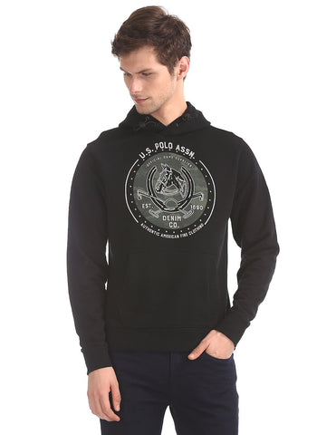 Black Brand Print Hooded Sweatshirt