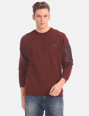 Men Red Crew Neck Solid Sweatshirt