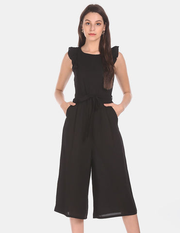 Women Black Solid Cropped Jumpsuit