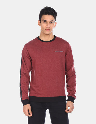 Men Wine Ribbed Crew Neck Heathered Sweatshirt