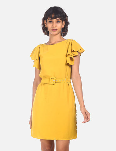 Women Mustard Belted Waist Sheath Dress