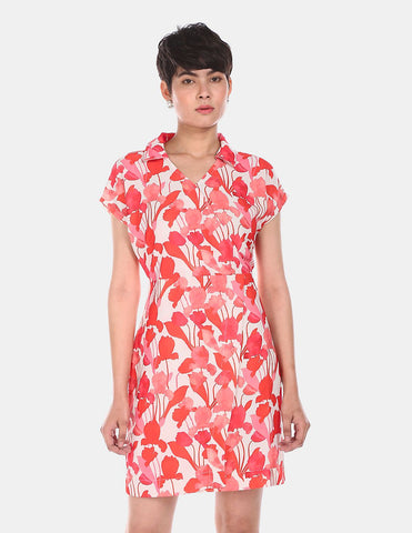 Women Off White Shirt Collar Printed Dress