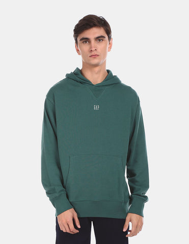 Men Green Hooded Brand Print Sweatshirt