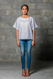 Naomi Boxy White Linen Top
