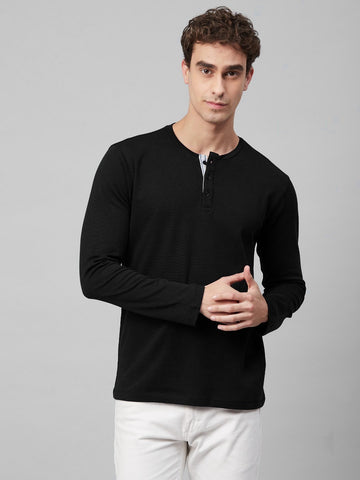 Black Henley Full Sleeves T-Shirt