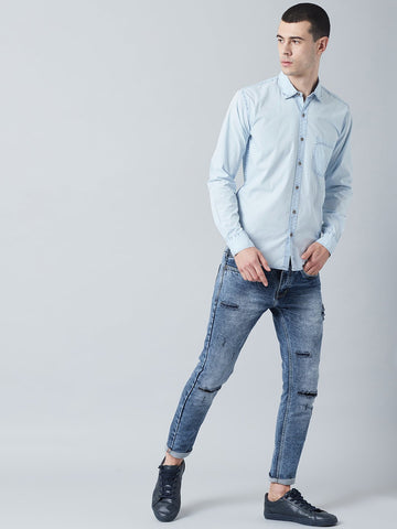 Blue Acid Washed Denim Shirt