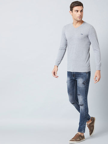 Grey Melange V Neck T-Shirt