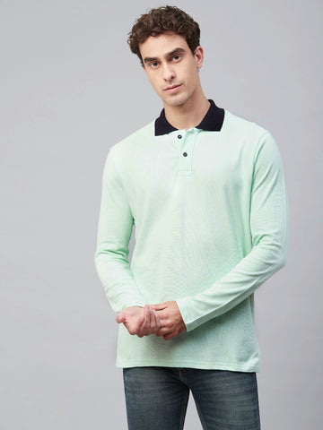 Contrast Collar Full Sleeves Polo T-Shirt