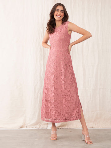 Pink Lace Maxi Dress For Women