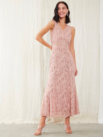 Pink Lace A-Line Maxi Dress For Women