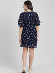 Women's Blue Floral Printed Sheath Dress