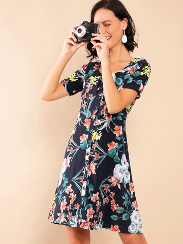 Women's Navy Blue Floral Print Fit & Flare Dress