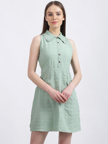 Women's Mint Green Solid Fit & Flare Dress