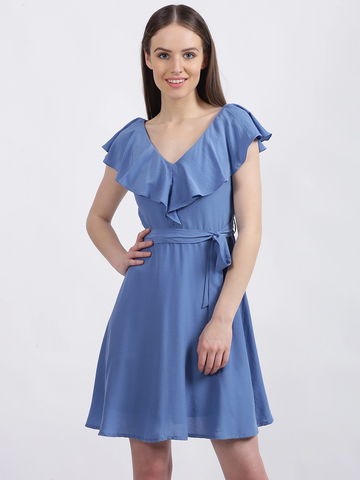 Women's Blue Solid Fit & Flare Dress