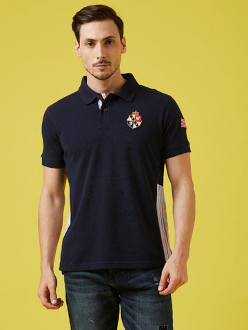 Grunt Navy Solid Polo T-Shirt With Badges