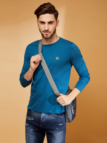Grunt Teal Solid Round Neck T-Shirt