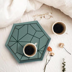 Hexagonal Aqua Patterned Serving Tray