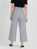 Black & White Striped Regular Trousers