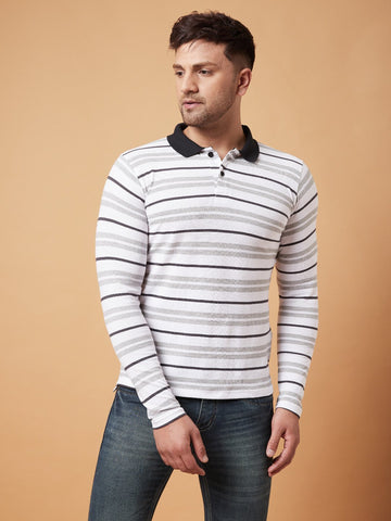 Multicolor Polo Full Sleeves T-Shirt